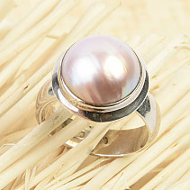 Round ring with pearl Ag 925/1000 size 57 9.3g