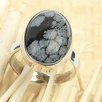 Obsidian flake ring oval Ag 925/1000