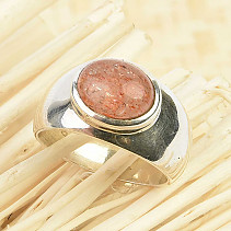 Oval sun stone ring Ag 925/1000