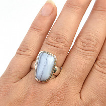 Ring with chalcedony silver Ag 925/1000 9.5g size 57