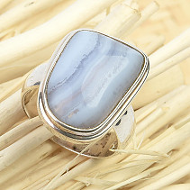 Ring with chalcedony silver Ag 925/1000 10g size 57