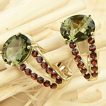 Moldavite earrings and garnets standard cut gold Au 585/1000 14K 3.77g