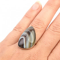 Agate ring 7.5g size 60 Ag 925/1000