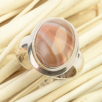 Silver ring with agate (size 55) Ag 925/1000 9.0g