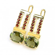 Moldavite earrings and garnets standard cut gold Au 585/1000 14K 5.82g