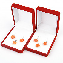 Carnelian heart gift set Ag hooks and handle