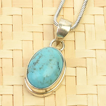 Turquoise smooth pendant Ag 925/1000 3,2g