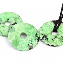 Chrysopras donut leather pendant 40mm