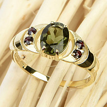 Ring with moldavite and grenades 14K Au 585/1000 3,21g size 54
