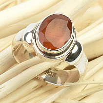 Fiery agate ring cut Ag 925/1000 5.4g size 54