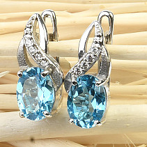Earrings blue topaz and zircons Ag 925/1000