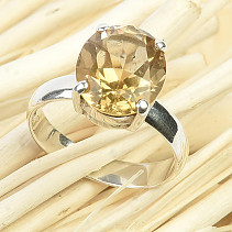 Citrine cut ring size 58 Ag 925/1000 4.2g