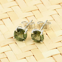 Moldavite round earrings 5mm standard cut Ag slipper
