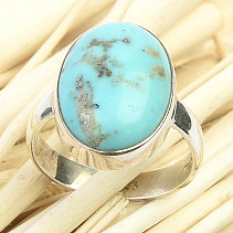 Ring turquoise oval Ag 925/1000 4.9g size 51
