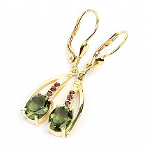 Drop earrings of moldavites and garnets standard cut gold Au 585/1000 14K 4.48g
