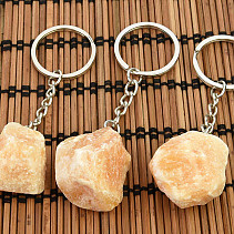 Yellow raw calcite keychain