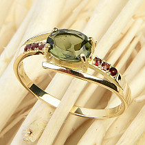 Ring with moldavite and grenades 14K Au 585/1000 3.16g size 61