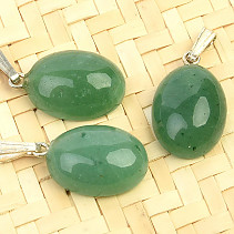 Green aventurine pendant oval Ag handle