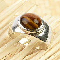 Tiger eye ring oval Ag 925/1000