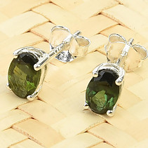 Tourmaline verdelite earrings oval Ag 925/1000 0.8g
