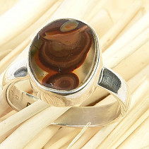 Fiery agate ring Ag 925/1000 3.8g size 55