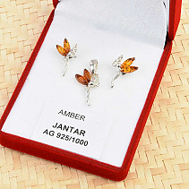 Silver set with amber fairy Ag 925/1000