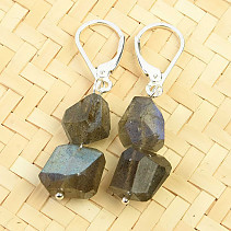 Earrings labradorite irregular shapes Ag clasp