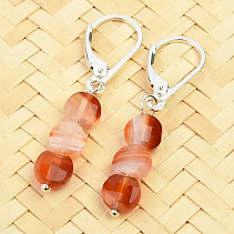 Agate coin earrings facet 6mm Ag clasp
