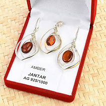 Gift set with amber silver Ag 925/1000