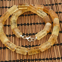 Citrine necklace rollers 50cm Ag clasp