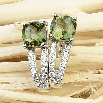Moldavite and zircons earrings square 7x7mm Ag 925/1000 checker top cut
