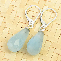 Earrings cut aquamarine Ag 925/1000 4,0g