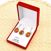Amber honey shade ovals jewelry set silver Ag 925/1000