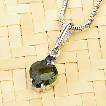 Moldavite pendant + heart garnet 7 x 7mm 925/1000 checker top cut