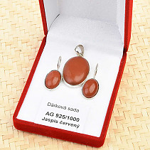 Jasper red oval gift set Ag 925/1000