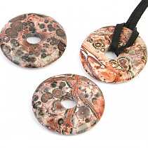 Jasper leopard pendant donut on leather 25mm