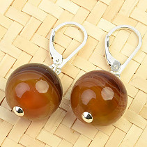 Earrings agate ball 14mm Ag clasp