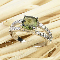 Ring moldavite and zircons square 7 x 7mm Ag 925/1000 checker top cut