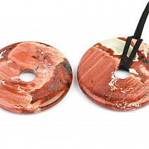 Jasper breccia pendant donut on leather 45mm