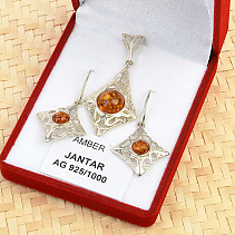 Silver set with amber original Ag 925/1000