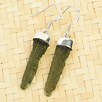 Earrings natural moldavite Ag 925/1000 3,8g