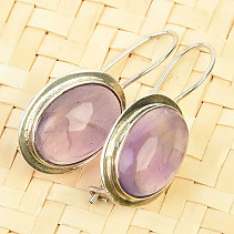 Earrings with oval amethyst Ag 925/1000