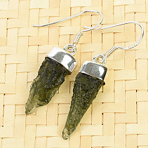 Earrings natural moldavite Ag 925/1000 3,3g