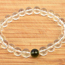 Moldavite and crystal ball bracelet 8mm