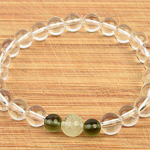 Moldavite bracelet, Libyan glass and crystal