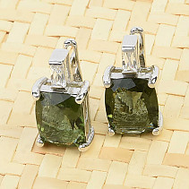 Moldavite earrings and zircon standard cut Ag 925/1000 5.8 g
