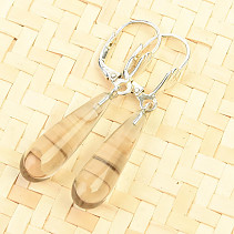 Smoky earrings smooth drop Ag hooks