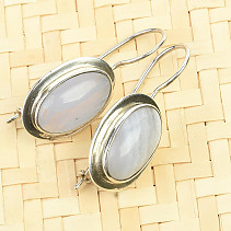 Chalcedony oval earrings Ag 925/1000