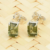 Moldavite earrings rectangle 6 x 4mm standard cut Ag slipper