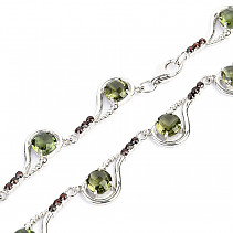 Luxury necklace moldavite and garnets cut Ag 925/1000 (49cm)